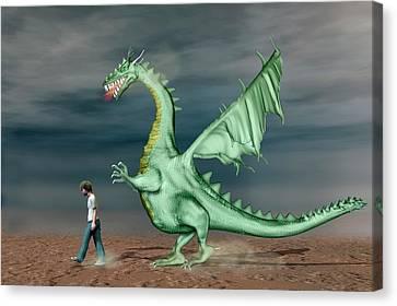 Boy With Pet Dragon Canvas Print by Carol & Mike Werner