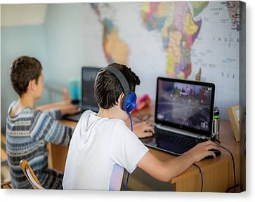 Boys Using Laptop Canvas Print