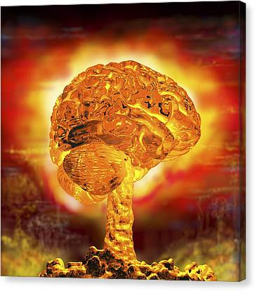 Brain As Atomic Bomb Canvas Print by Russell Kightley