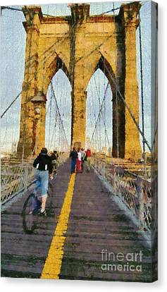 Walkway Canvas Print - Brooklyn Bridge Promenade by George Atsametakis