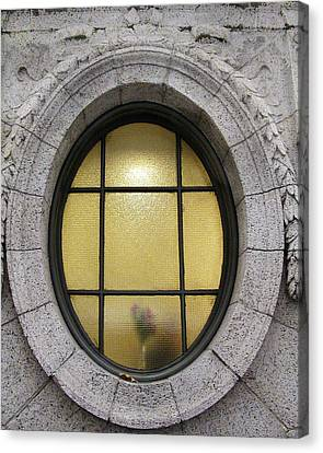 Canvas Print featuring the photograph Bryant Park Window by Gary Slawsky