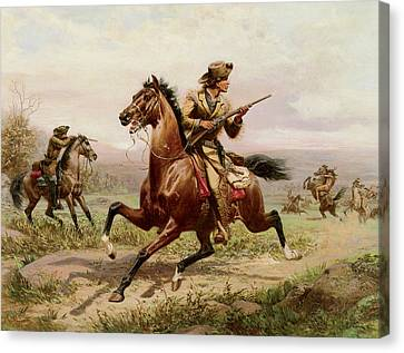 Buffalo Bill Fighting Indians Canvas Print by Louis Maurer