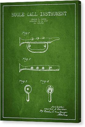 Bugle Call Instrument Patent Drawing From 1939 - Green Canvas Print