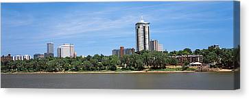 Buildings At The Waterfront, Arkansas Canvas Print