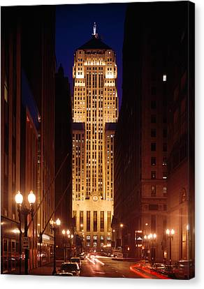 Buildings Lit Up At Night, Chicago Canvas Print by Panoramic Images