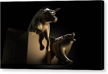 Bull And Bear Stock Market Statues Canvas Print by Allan Swart