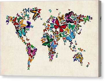 Butterflies Map Of The World Canvas Print by Michael Tompsett