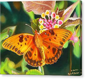 Canvas Print featuring the painting Butterfly And Lantana by Phyllis Beiser