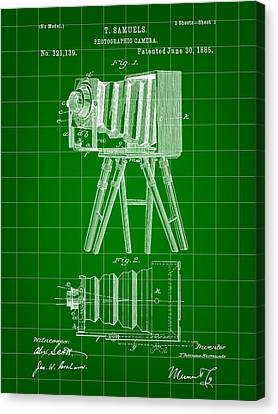 Camera Patent 1885 - Green Canvas Print by Stephen Younts