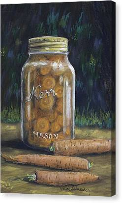 Canvas Print featuring the painting Canned Carrots by Claude Schneider