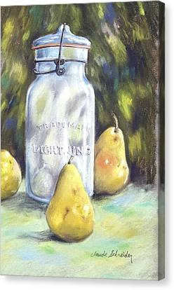Canned Pears  Canvas Print by Claude Schneider