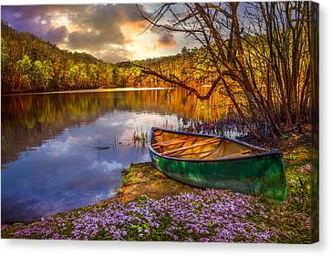 Canoe At The Lake Canvas Print by Debra and Dave Vanderlaan