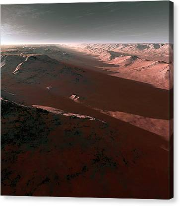 Canyons On Mars Canvas Print by Detlev Van Ravenswaay