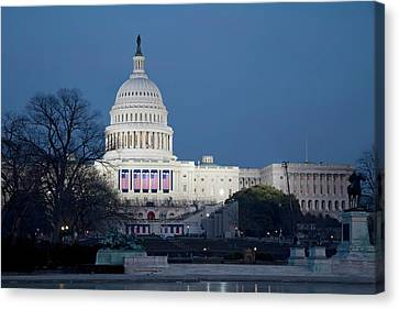 Reflecting Water Canvas Print - Capitol Building by Jim West