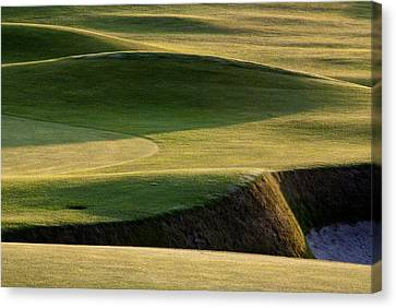 Canvas Print featuring the photograph Carnoustie Shadows Scotland by Sally Ross
