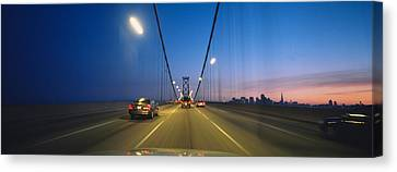 Cars On A Suspension Bridge, Bay Canvas Print by Panoramic Images