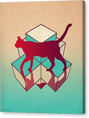 Geometric Canvas Print - cat by Mark Ashkenazi