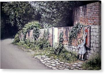 Canvas Print featuring the painting Catching The Post by Rosemary Colyer