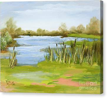 Canvas Print featuring the painting Cattails At Forest Park by Vic  Mastis