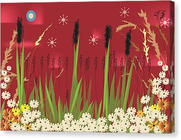 Canvas Print featuring the digital art Cattails by Kim Prowse