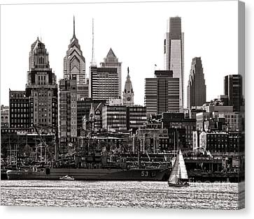 Canvas Print featuring the photograph Center City Philadelphia by Olivier Le Queinec