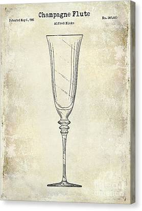 White Wine Canvas Print - Champagne Flute Patent Drawing  by Jon Neidert