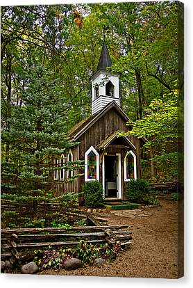 Chapel In The Woods Canvas Print by Judy  Johnson