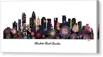 Charlotte North Carolina Fireworks Skyline Canvas Print