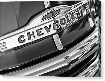 Chevrolet Pickup Truck Canvas Print - Chevrolet Pickup Truck Grille Emblem by Jill Reger