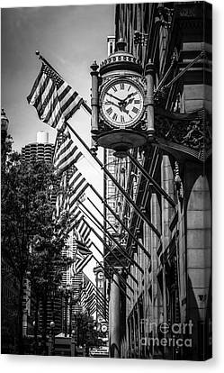 Chicago Macy's Clock In Black And White Canvas Print