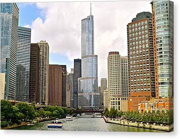 Chicago River View Canvas Print by Frozen in Time Fine Art Photography
