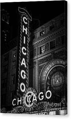 Illinois Canvas Print - Chicago Theatre Sign In Black And White by Paul Velgos