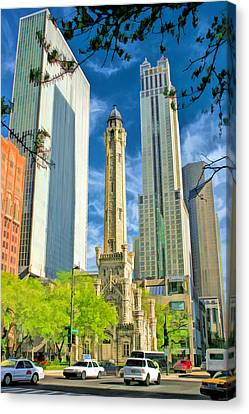 Chicago Water Tower Shopping Canvas Print
