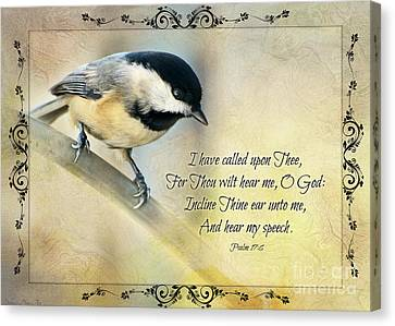 Chickadee With Verse Canvas Print by Debbie Portwood