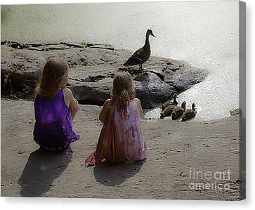 Children At The Pond 3 Canvas Print by Madeline Ellis