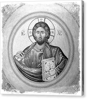 Greek Icon Canvas Print - Christ Pantocrator In Black And White -- Church Of The Holy Sepulchre by Stephen Stookey