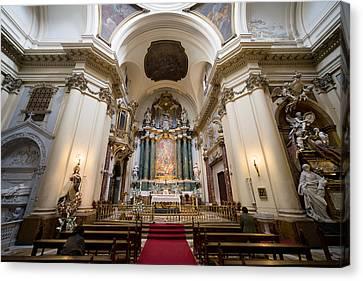 Church Of Santa Barbara Interior In Madrid Canvas Print by Artur Bogacki