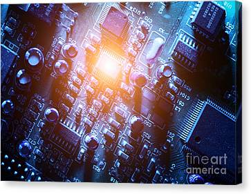 Circuit Board Abstract Canvas Print by Konstantin Sutyagin
