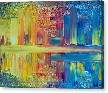 City Lights Canvas Print by Teresa Wegrzyn