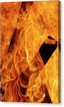 Close-up Of Fire Flames, Jodhpur, India Canvas Print by Adam Jones