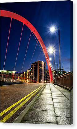 City Of Bridges Canvas Print - Clyde Arc Squinty Bridge by John Farnan