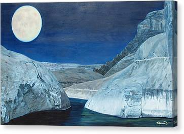 Cold Water Passage Beneath Full Moon Canvas Print