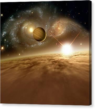 Colliding Galaxies Canvas Print by Detlev Van Ravenswaay