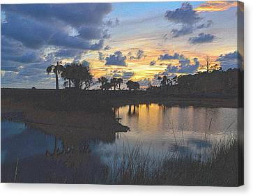 Tropical Sunset Canvas Print - Colorful Sunset  by Richard Zentner