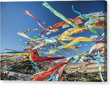 Tibetan Buddhism Canvas Print - Colourful Tibetan Prayer Flags _lung by Sergey Orlov