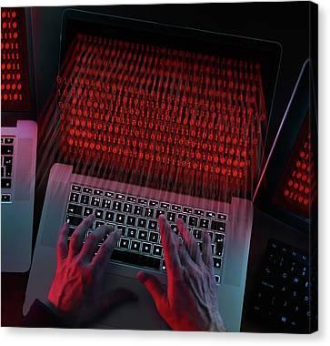 Computer Hacking Canvas Print by Tek Image