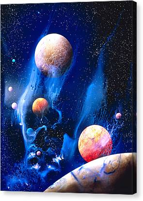 Conceptualized Universe With Planets Canvas Print by Panoramic Images