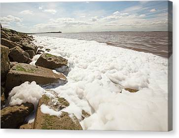 Contaminated Water Entering The Humber Canvas Print by Ashley Cooper