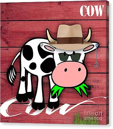 Cow Canvas Print - Cool Cow Collection by Marvin Blaine