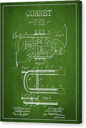 Cornet Patent Drawing From 1899 - Green Canvas Print by Aged Pixel
